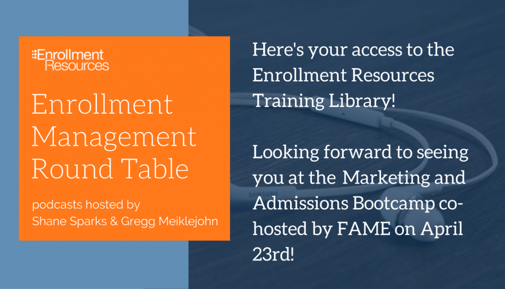 Here's your access to the Enrollment Resources Training Library! Looking forward to seeing you at the Marketing and Admissions Bootcamp co-hosted by FAME on April 23rd!